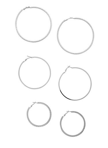 Multi Size Hoop Earrings Set,SILVER,large