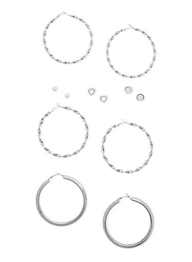 6 Stud and Large Hoop Earrings Set,SILVER,large