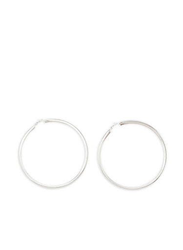 Extra Large Metallic Glitter Hoop Earrings,SILVER,large