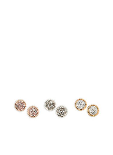 Tri Tone Rhinestone Druzy Earrings,ROSE,large