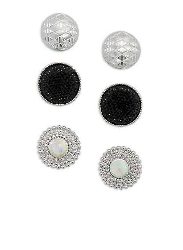 Large Rhinestone Textured Disc Stud Earrings,SILVER,large