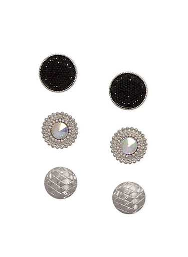 Set of 3 Assorted Large Round Earrings,SILVER,large