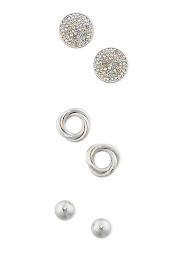 Set of 3 Rhinestone Knot and Dome Stud Earrings,SILVER,large