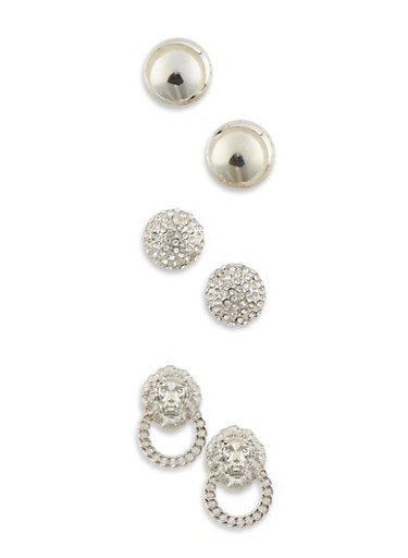Set of 3 Large Dome Stud Earrings with Lion Motif,SILVER,large