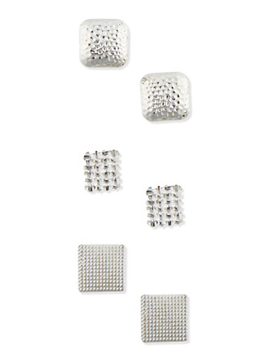 Set of 3 Large Square Stud Earrings in Assorted Textures,SILVER,large