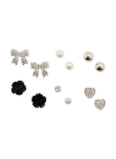 Set of 6 Stud Earrings with Crystal Accents,SILVER,large