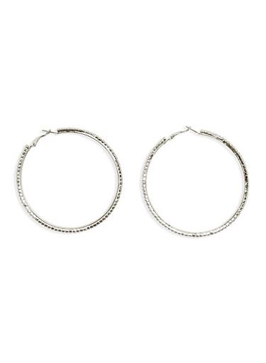 Crystal Covered Hoop Earrings,SILVER,large