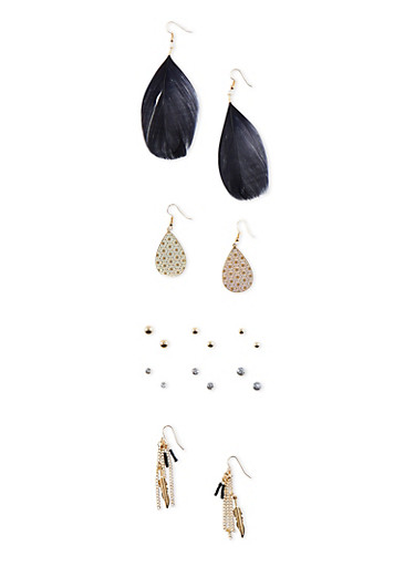 Set of 5 Assorted Boho Stud and Drop Earrings with Feathers,BLACK,large