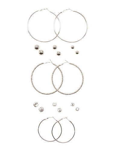 Set of 9 Assorted Dome Stud and Hoop Earrings,SILVER,large