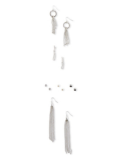 Set of 4 Assorted Chain Fringe and Stud Earrings,SILVER,large
