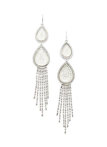 Chandelier Earrings with Teardrop Design,SILVER,large