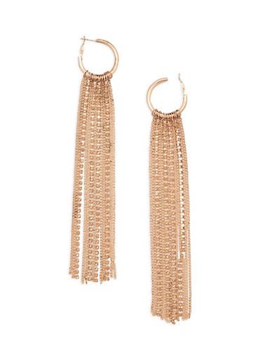 Rhinestone Metallic Fringe Hoop Earrings,ROSE,large