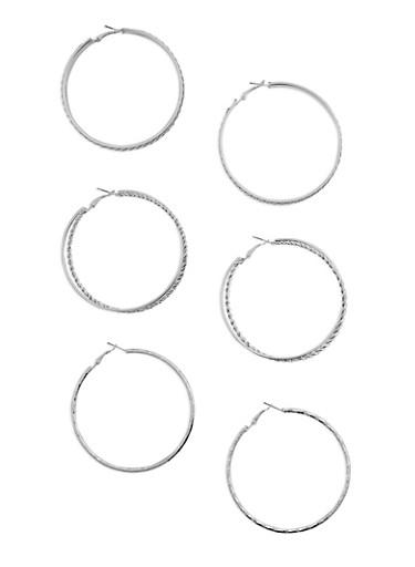 Trio Assorted Hoop Earrings Set,SILVER,large