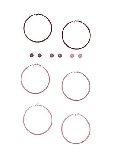 6 Piece Hoop and Stud Earrings Set,MAUVE,large