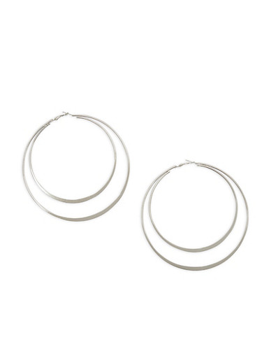 Extra Large Double Edge Hoop Earrings,SILVER,large