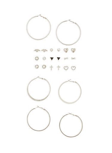 12 Piece Assorted Stud and Hoop Earring Set,SILVER,large