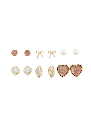 Set of 6 Assorted Stud Earrings,IVORY,large