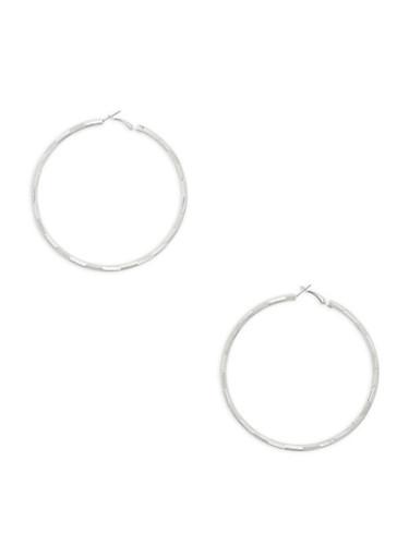 Large Textured Hoop Earrings,SILVER,large