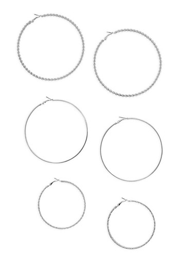 Large Trio Assorted Hoop Earring Set,SILVER,large