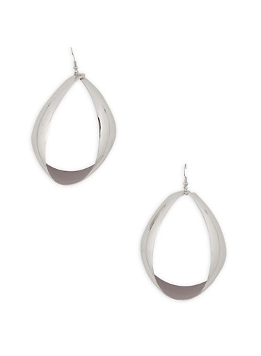 Large Wide Drop Earrings,SILVER,large