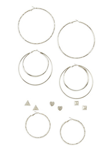 6 Piece Assorted Glitter Hoop and Stud Earring Set,SILVER,large