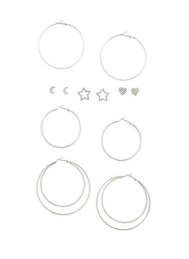 6 Piece Assorted Star and Moon Earrings Set,SILVER,large