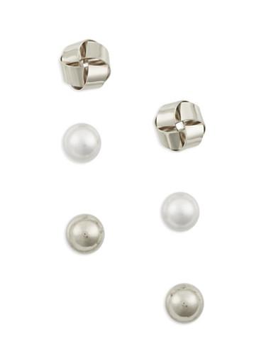 Set of 3 Stud Earrings in Varied Designs,SILVER,large