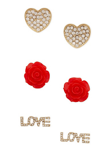 Set of 3 Stud Earrings in Love Heart and Rosette Designs,RED,large