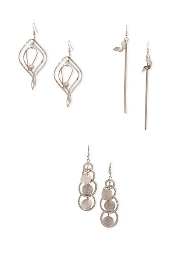 Set of 3 Assorted Drop Earrings,SILVER,large