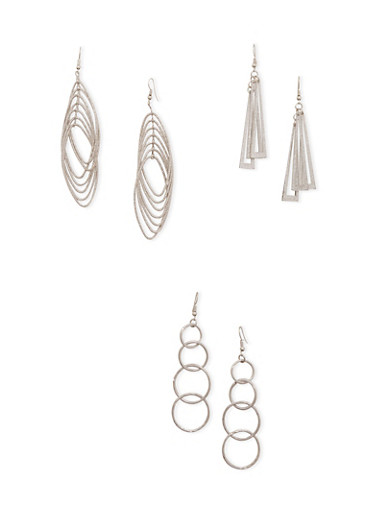 Set of 3 Geometric Drop Earrings with Glitter,SILVER,large