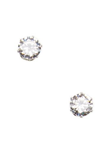 Medium Cubic Zirconia Stud Earrings,SILVER,large