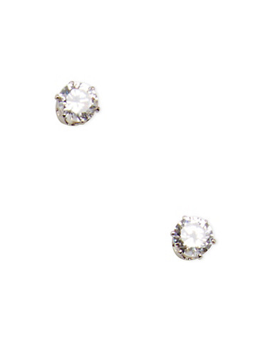 Small Cubic Zirconia Stud Earrings,SILVER,large