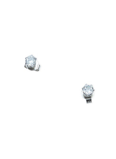 Petit Cubic Zirconia Stud Earrings,SILVER,large