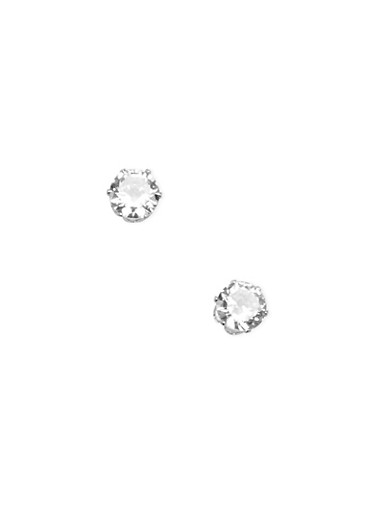 Large Cubic Zirconia Stud Earrings,SILVER,large