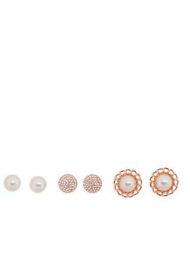 Large Faux Pearl Rhinestone Dome Earrings,ROSE,large