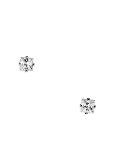 Small Square Cubic Zirconia Stud Earrings,SILVER,large