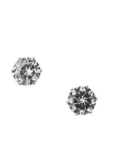 Oversized Round Cubic Zirconia Stud Earrings,SILVER,large