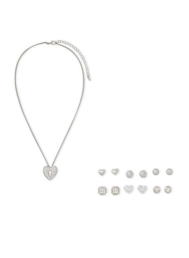 Necklace and 6 Varied Stud Earrings Set,SILVER,large