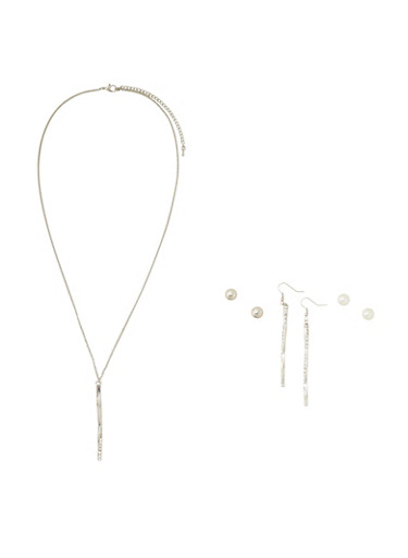 Necklace with 3 Varied Stud Earrings Set,SILVER,large