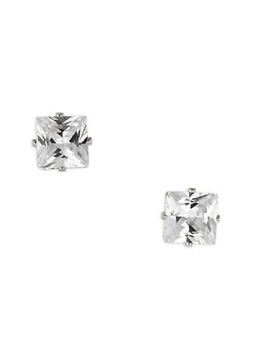 Oversized Square Cubic Zirconia Stud Earrings,SILVER,large