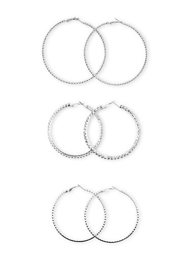 Set of 3 Hoop Earrings with Crystal Accents,SILVER,large