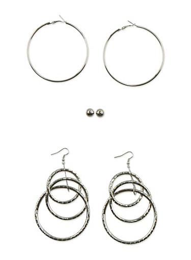 Set of 2 Hoops and Stud Earrings,SILVER,large