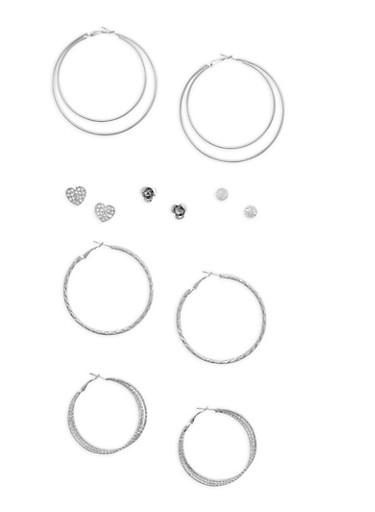 6 Hoop and Heart Stud Earrings Set,SILVER,large
