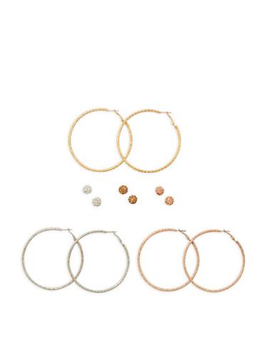 Set of 6 Assorted Stud and Hoop Earrings,TRITONE (SLVR/GLD/HEMAT),large
