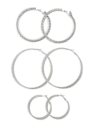 Trio Layered Hoop Earrings,SILVER,large