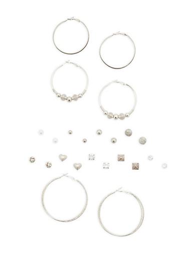 Set of 12 Hoop and Stud Earrings,SILVER,large