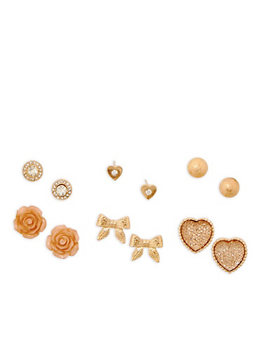Flower Heart Bow Stud Earrings Set,TAN,large