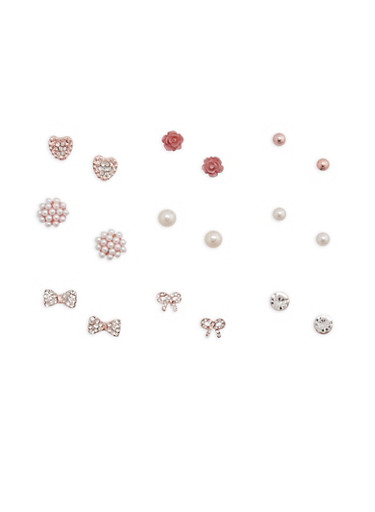 Assorted Stud Earrings Set,ROSE,large