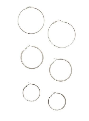 Glitter Rhinestone Metallic Hoop Earring Trio,SILVER,large