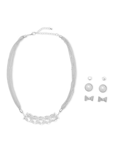 Encased Crystal Necklace with 3 Stud Earrings Set,SILVER,large